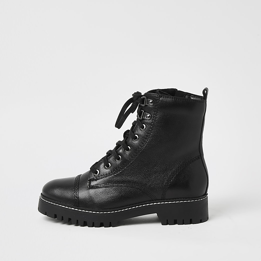Black wide fit leather lace up hiker boots