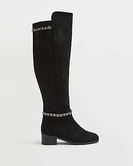 Black wide fit over the knee boots