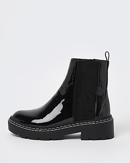 Black wide fit patent chelsea boots