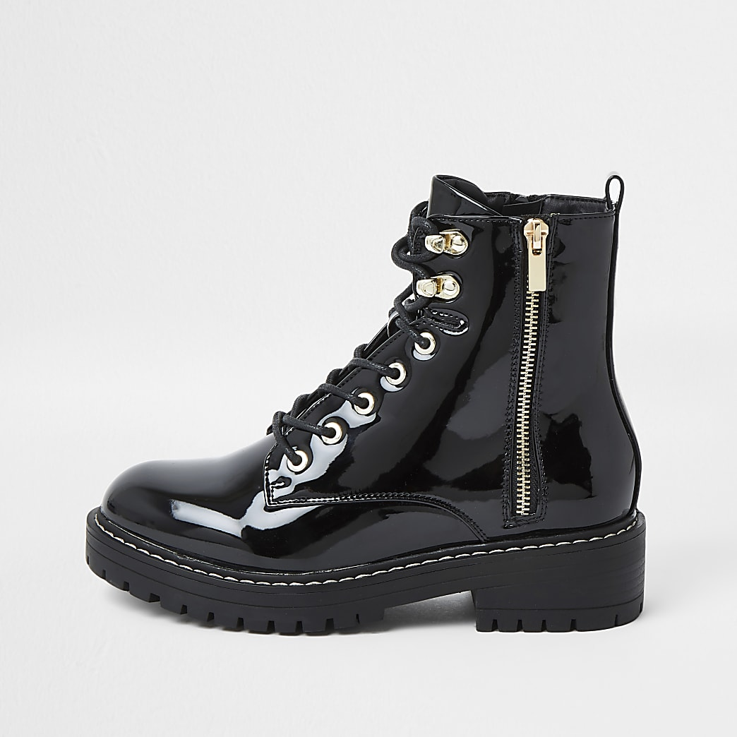 Black wide fit patent chunky flat ankle boot