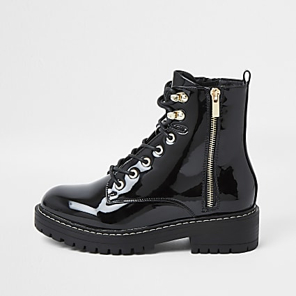 Black wide fit patent chunky flat ankle boots
