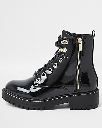 Black wide fit patent lace up ankle boots