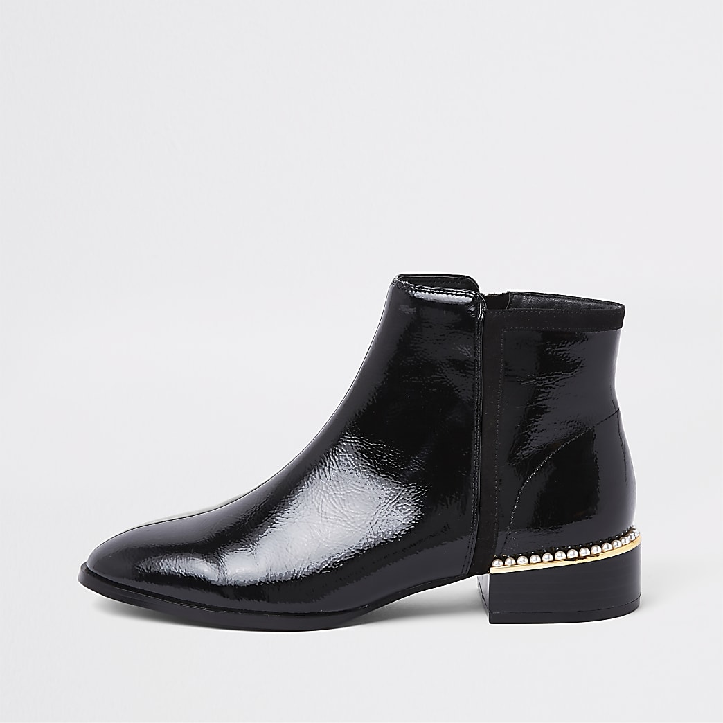 Black wide fit pearl embellished ankle boots