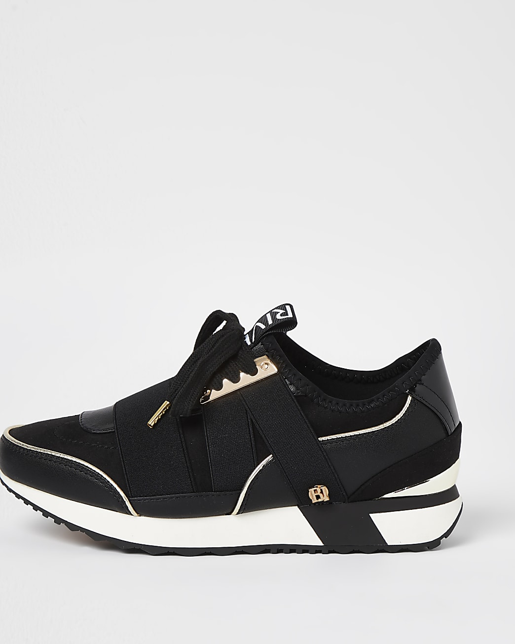 Black wide fit pull on runner trainers