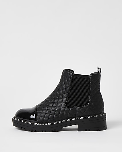 Black wide fit quilted chelsea boots