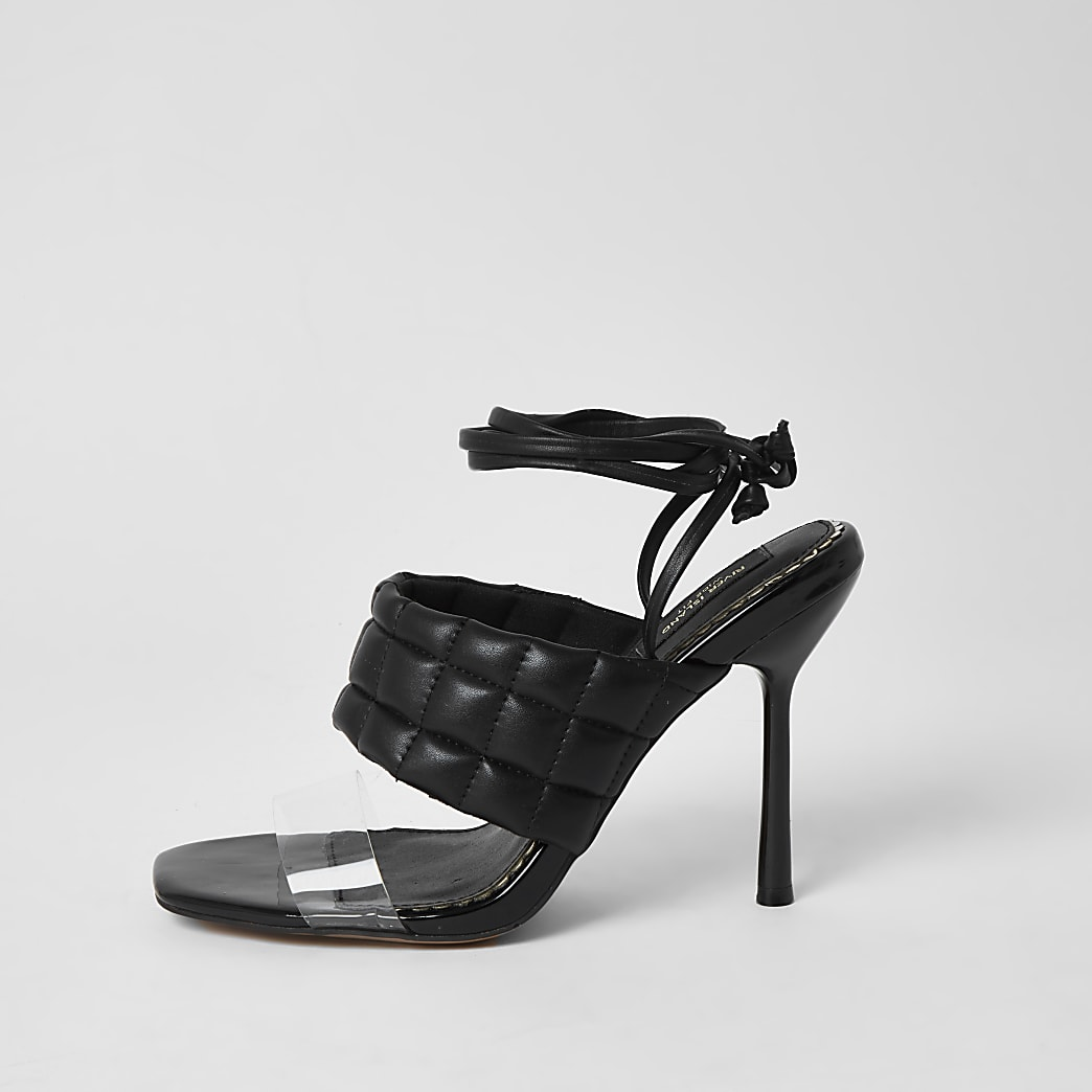 Black wide fit quilted tie uP sandal
