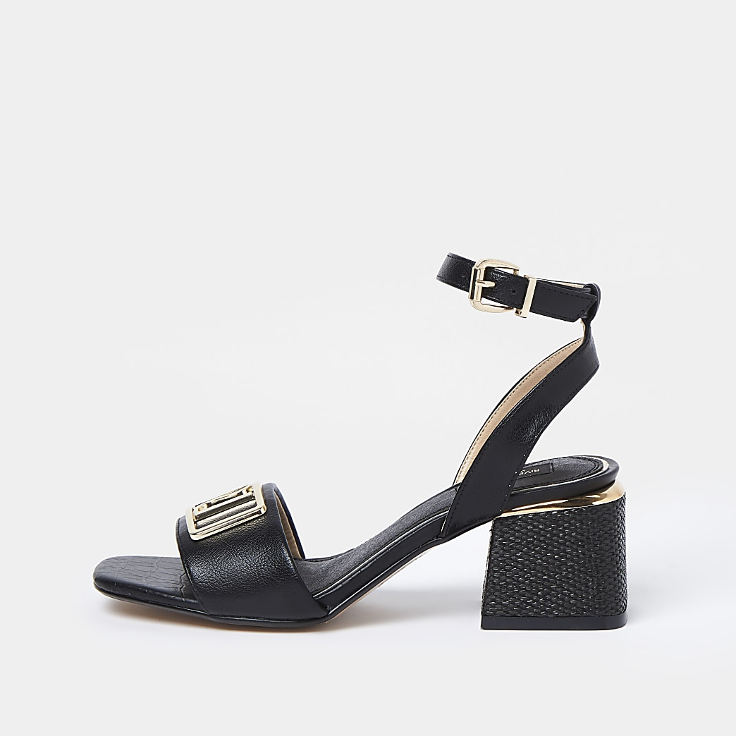 Black wide fit RI ankle strap low heel sandal