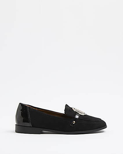 Black wide fit RI branded loafers