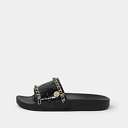 Black wide fit RI embossed gold chain sliders