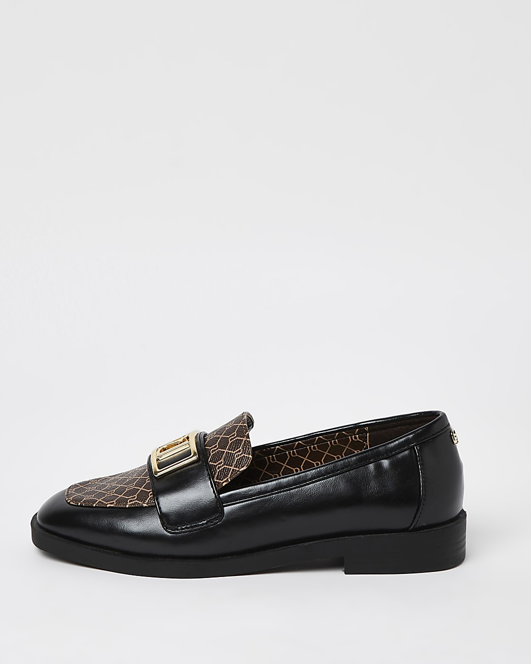 Black wide fit RI monogram loafers