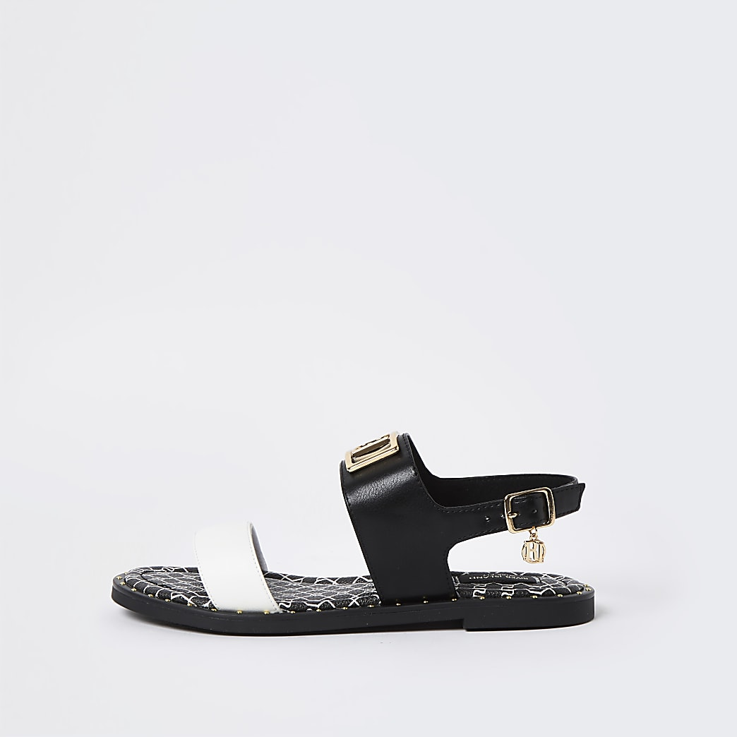 Black wide fit RI two part sandal