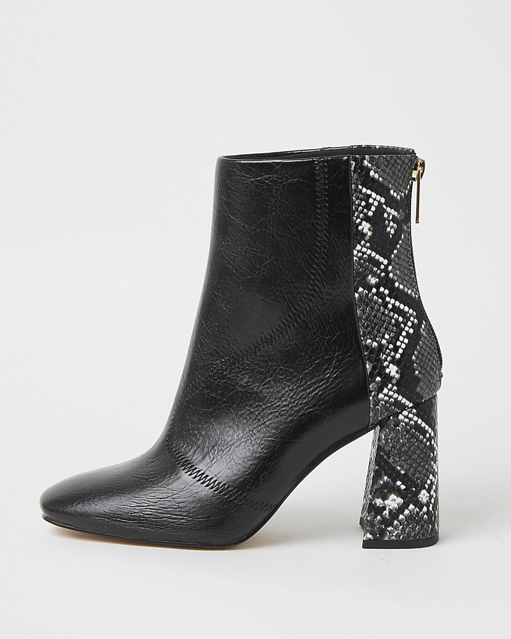 Black wide fit snake print block heel boots