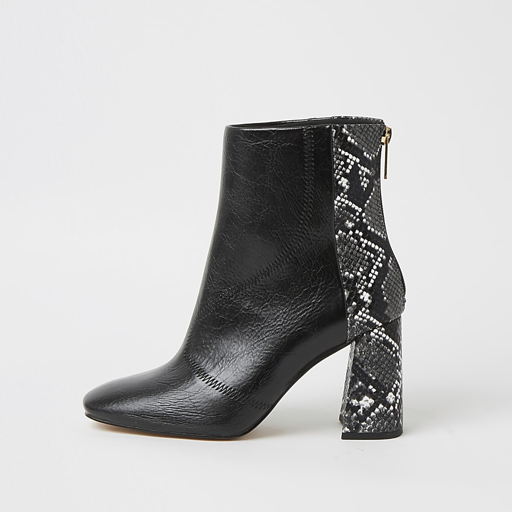 Black wide fit snake print block heel boots