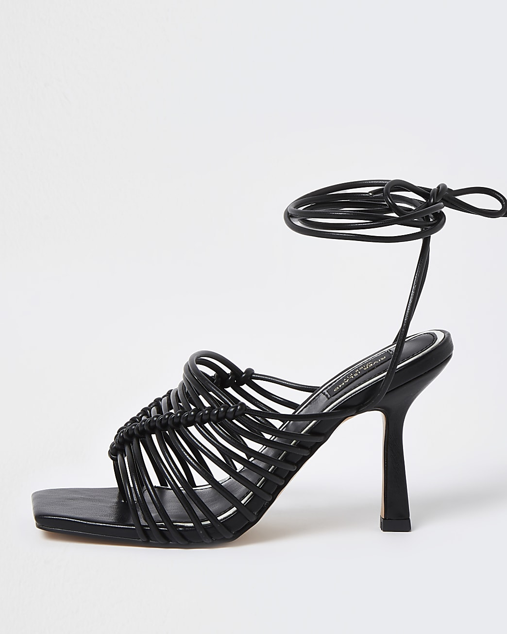 Black wide fit spaghetti strap sandal