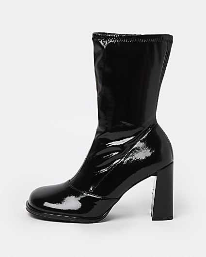Black wide fit square toe sock boots