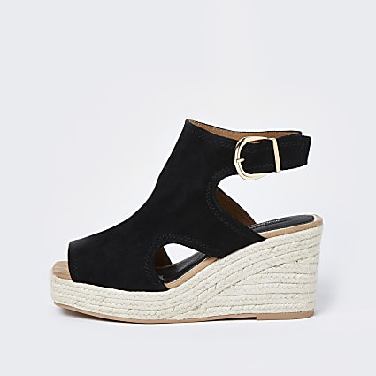 Black wide fit square toe wedge shoe boots