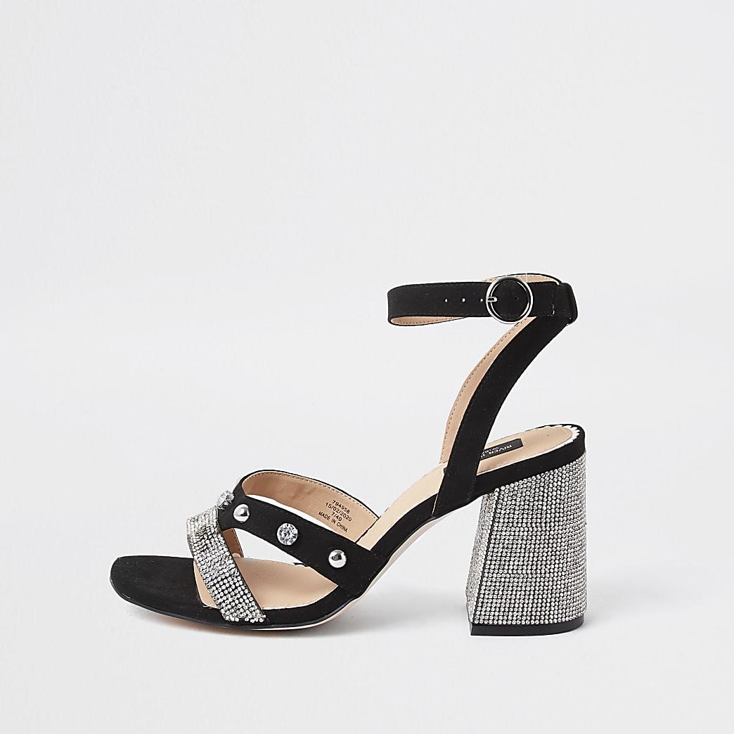Black wide fit studded block heel sandal