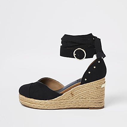 Black wide fit tie up esspadrille wedges