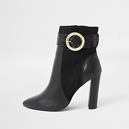 Black wide fit trim point toe ankle boots