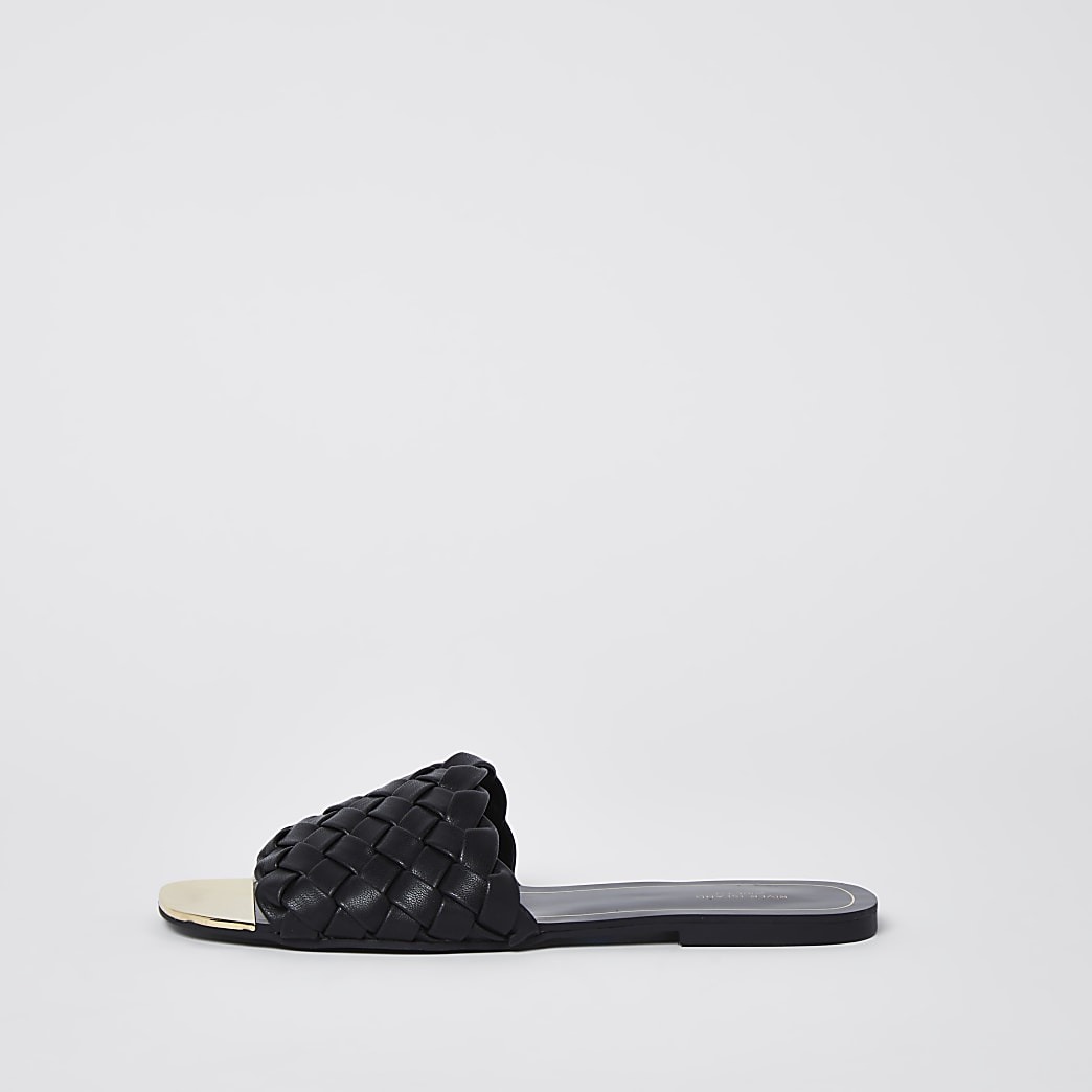 Black wide fit woven flat sandals