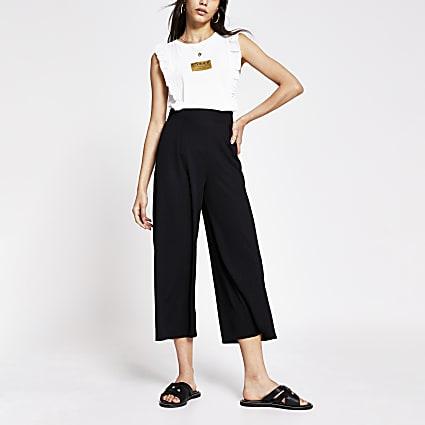 Black wide leg culotte