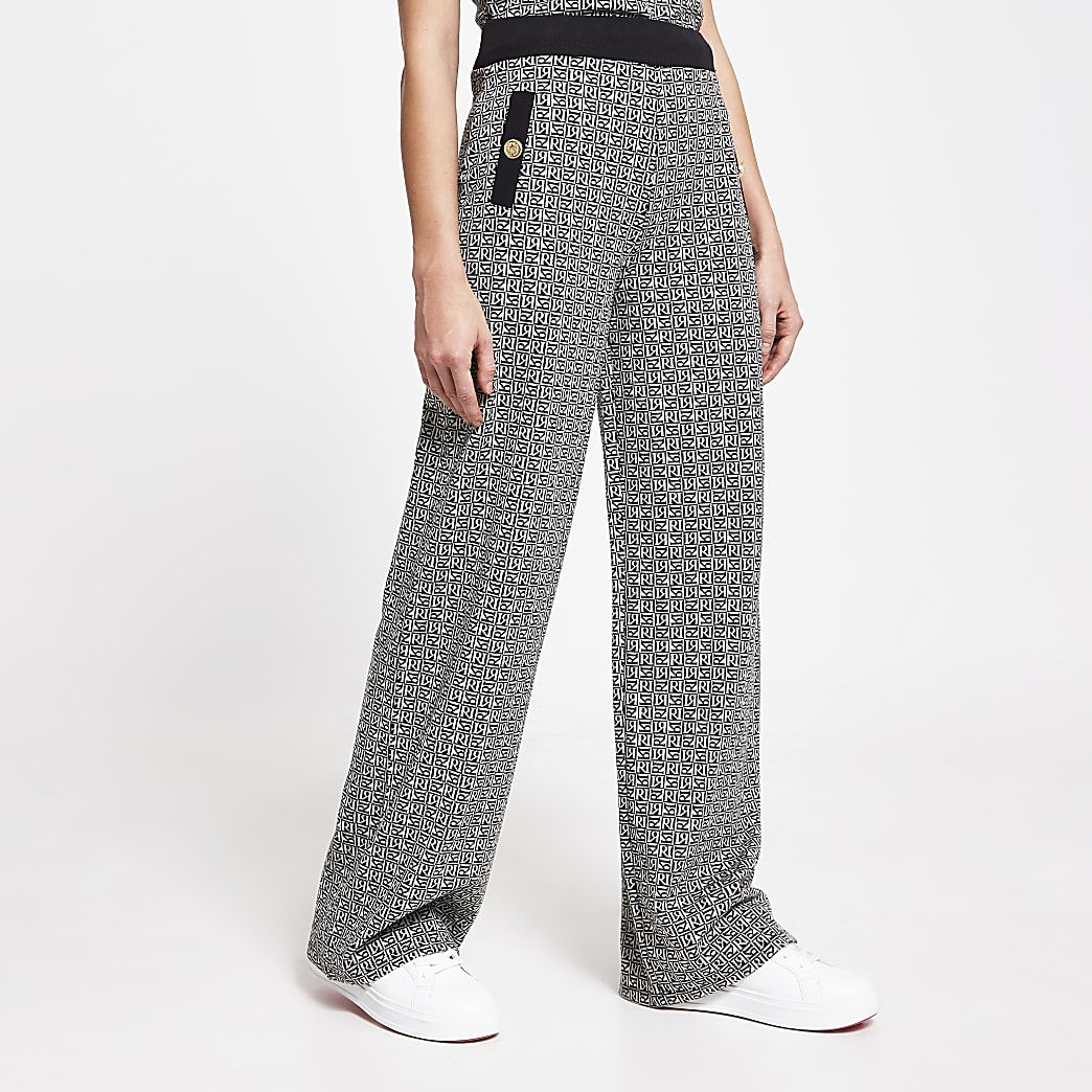 Black wide leg RI monogram trousers