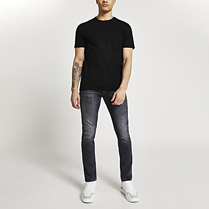 Black wide neck slim fit t-shirt