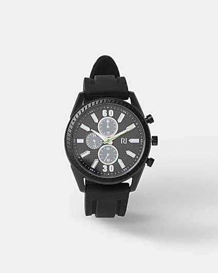 Black wide strap sporty watch