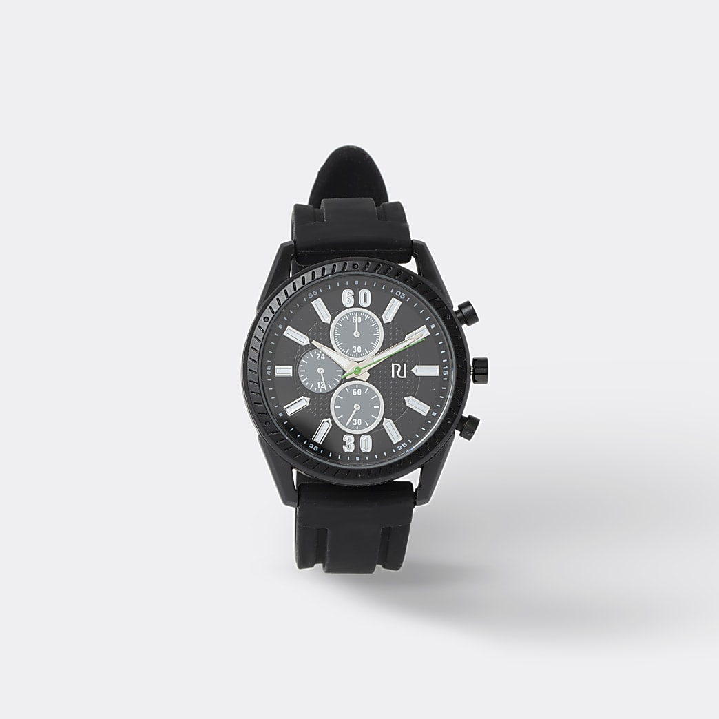 Black wide strap sporty watch