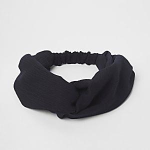 Serre-tête large noir torsadé
