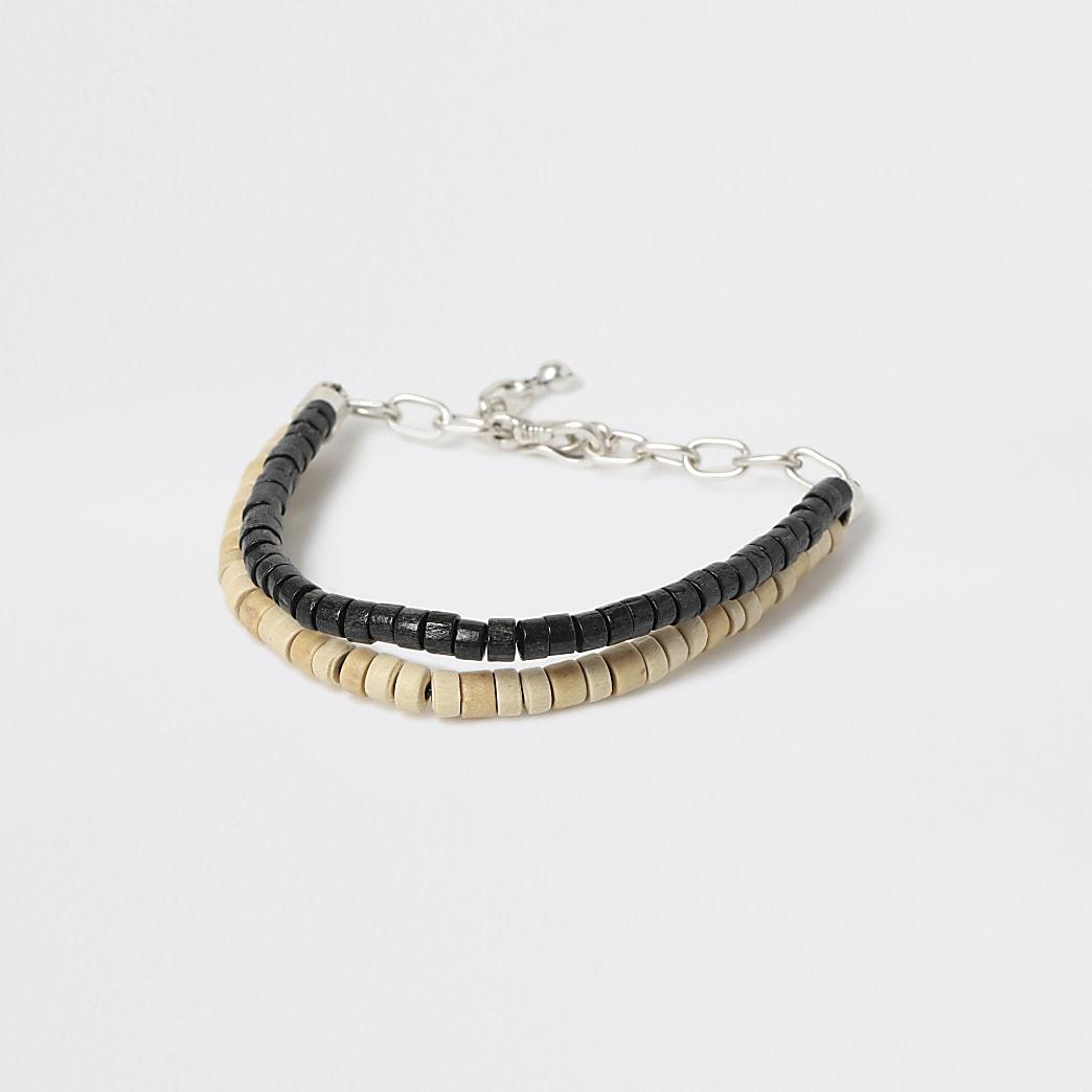 Black wood bead double layer bracelet