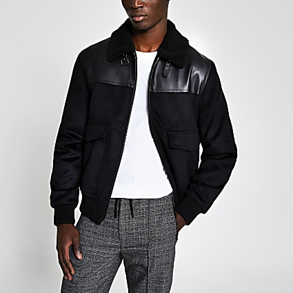 Black wool aviator jacket