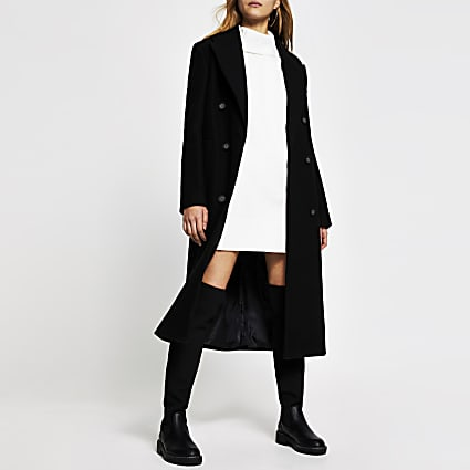Black wool longline boxy coat
