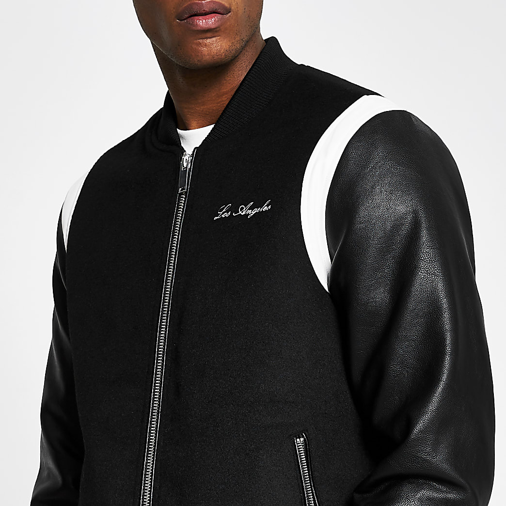 Black wool mix Los Angeles varsity jacket