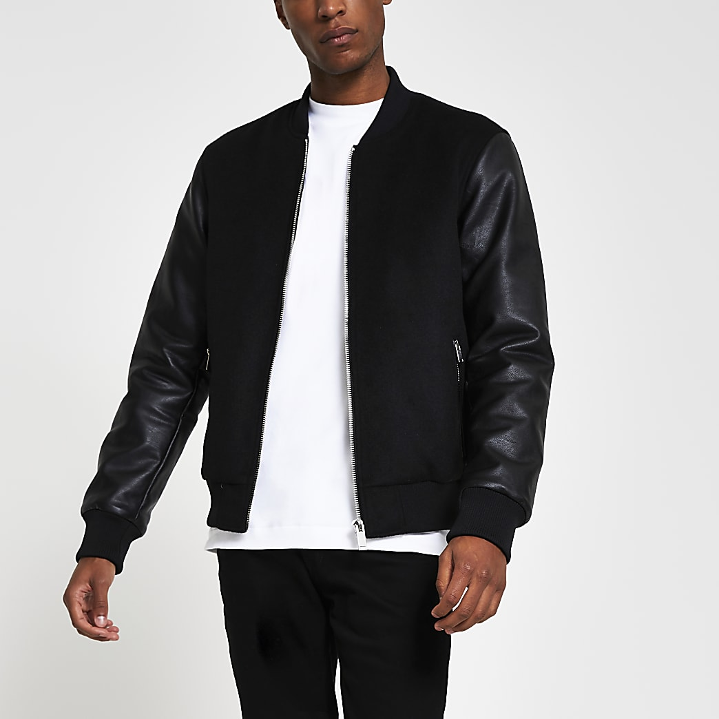 Black wool mix varsity jacket