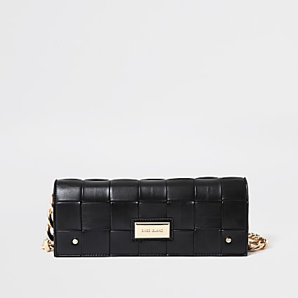 Black woven baguette clutch bag