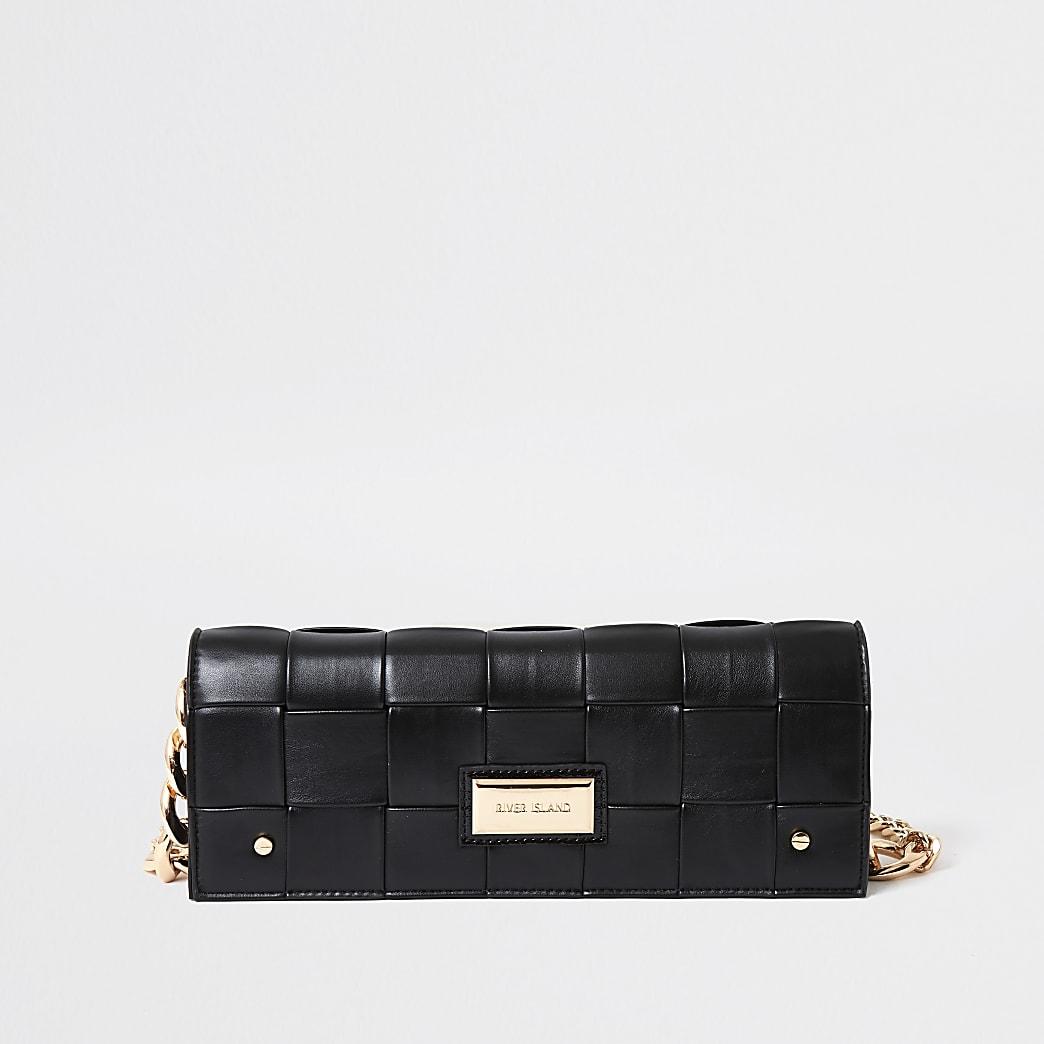 Black woven baguette clutch bag