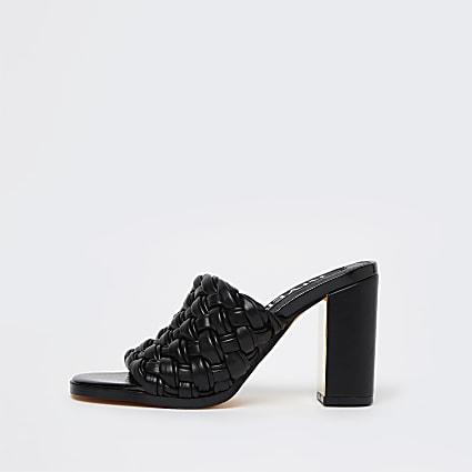 Black woven block heel mules