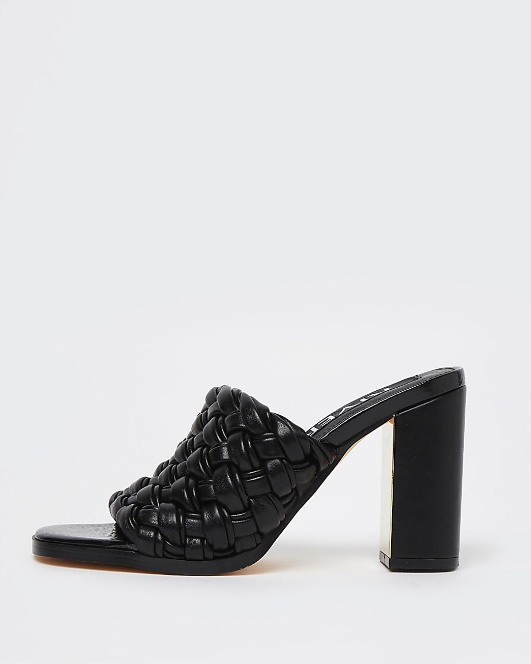 Black woven block heeled mules