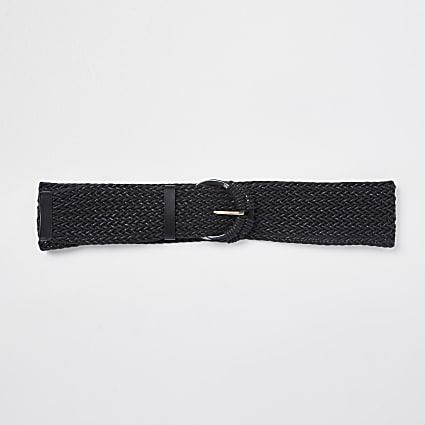 Black woven circle belt