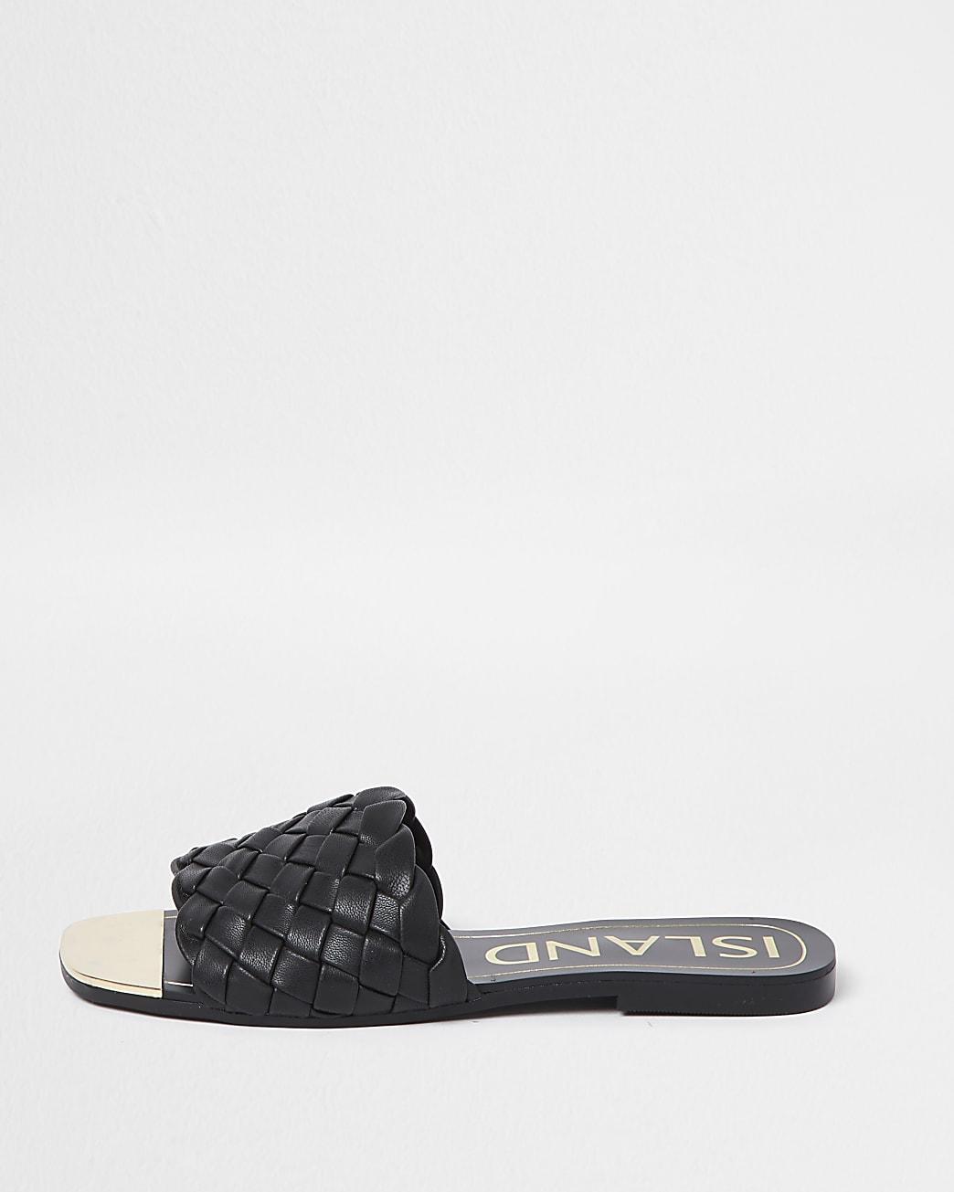 Black woven flat sandals