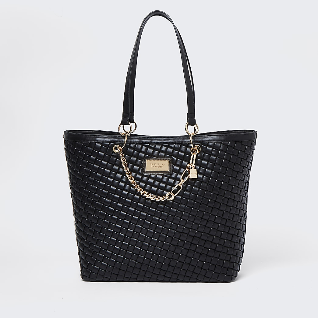 Black woven gold chain shopper bag