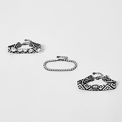 Black woven jewel layering bracelet pack