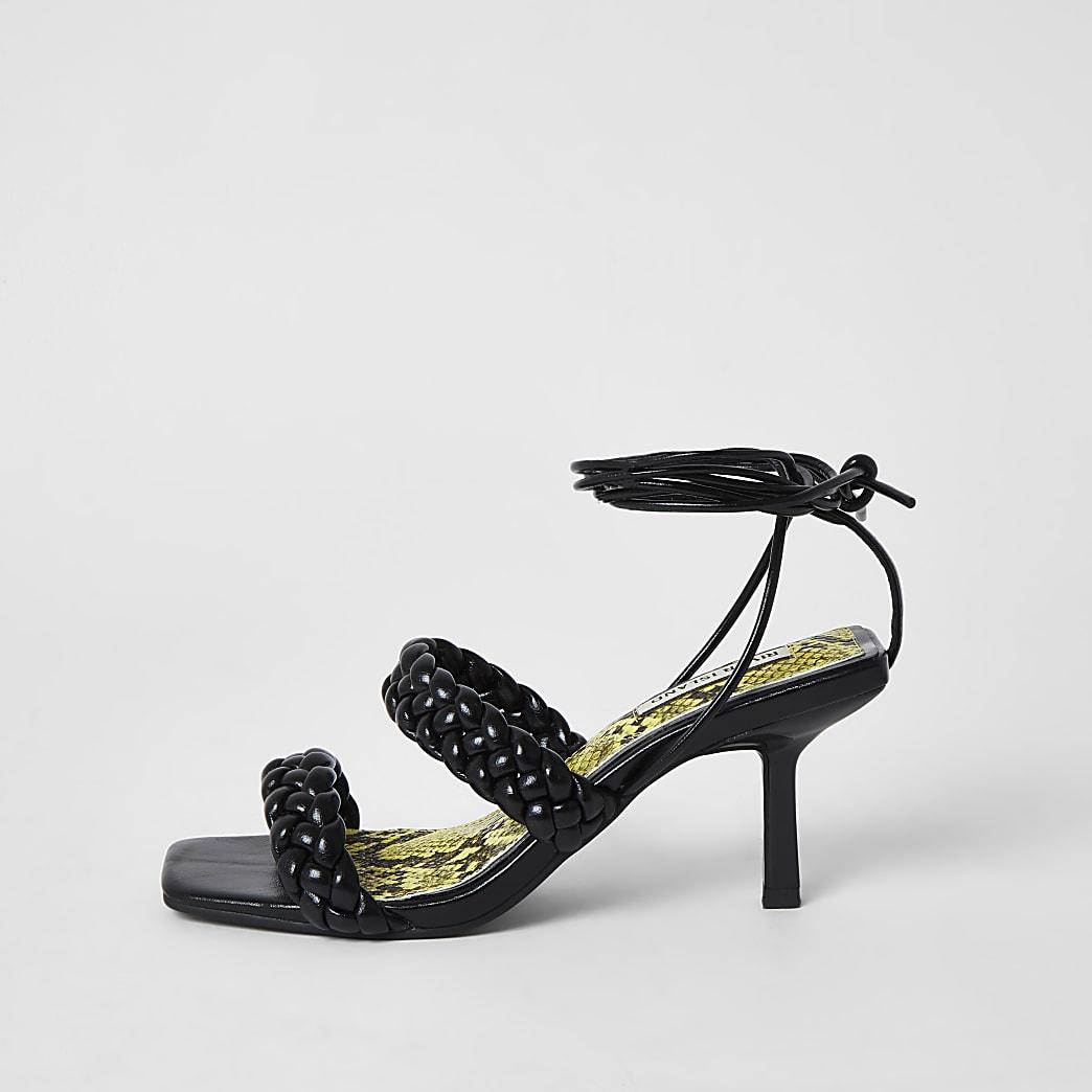 Black woven kitten heel sandal