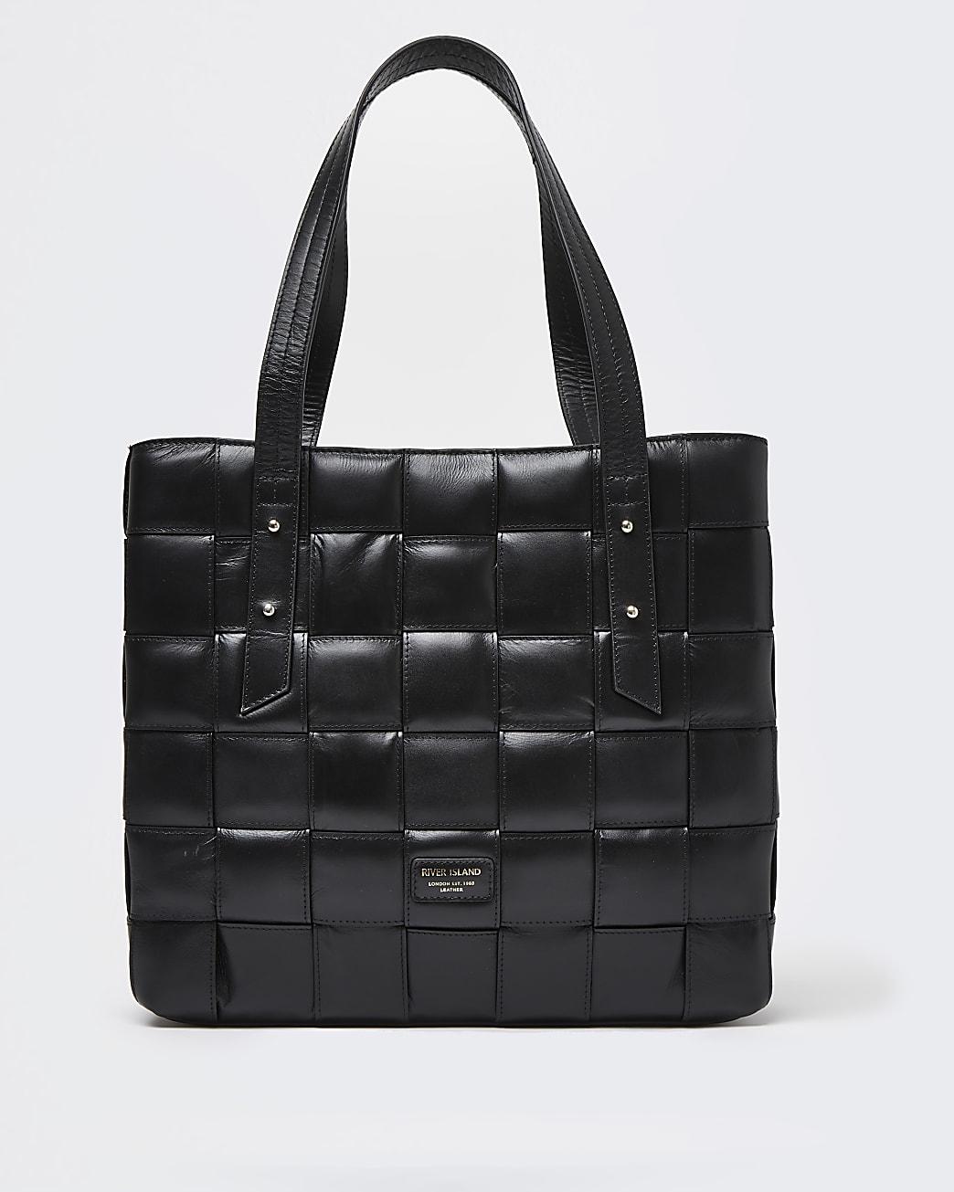 Black woven leather shopper bag