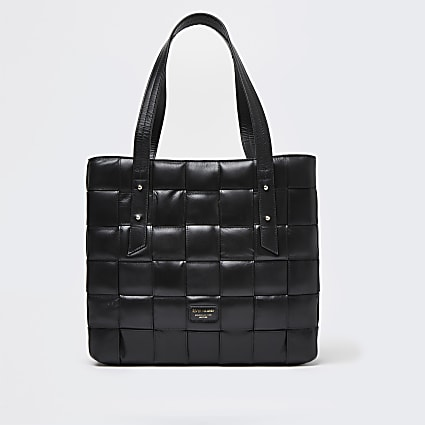 Black woven leather shopper bag