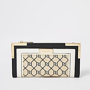 Zwarte geweven uitvouwbare RI-portemonnee met metalen hoeken