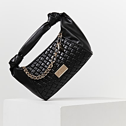 Black woven scrunch bag
