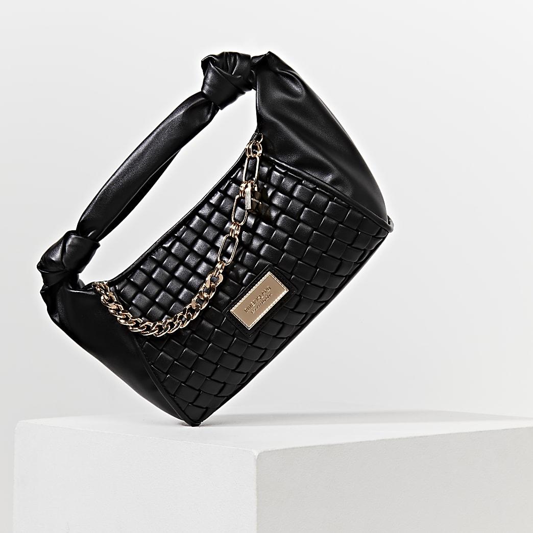 Black woven scrunch bag