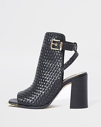 Black woven shoe boots